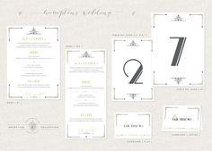 Wedding Reception Set: HAMPTONS Place Card, Table Number, Menu (Gatsby, Art Deco, Modern, Graphic) SAMPLE