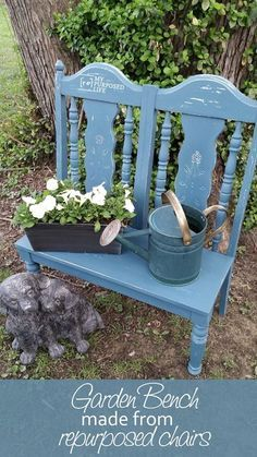 Bench from Repurposed Chairs Make a cute garden bench out of some old chairs. Easy weekend project that can also be used as a doll bench.Make a cute garden bench out of some old chairs. Easy weekend project that can also be used as a doll bench. Refurbished Furniture, Repurposed Furniture, Furniture Makeover, Painted Furniture, Chair Makeover, Distressed Furniture, Furniture Projects, Garden Furniture, Diy Furniture