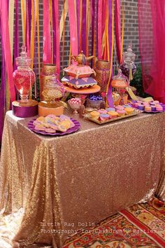 birthday, An Arabian Nights themed party with a beautiful Moroccan feel by Sweet Bambini Event Styling Arabian Theme, Arabian Party, Arabian Nights Theme, Jasmin Party, Princess Jasmine Party, Henna Party, Festa Tema Arabian Nights, Jasmine E Aladdin, Moroccan Theme Party
