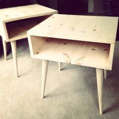 mid century modern night/coffee stands.  Original on Instagram  http://instagram.com/p/T1jgmZLV87/  See Instagram for tips on screw on legs for the project