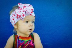 White Vintage Style Headwrap with Bright Red Cherries - Infant to Adult - Knot, Bow, Turban, Headscarf - Wear in Front, Back, or Side!
