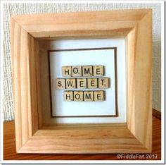 Home Sweet Home Shadow Box picture frame crafts - cute Wedding Gift! Scrabble Letter Crafts, Scrabble Letters, Scrabble Tiles, Shadow Box Picture Frames, Picture Frame Crafts, Diy Crafts For Gifts, Home Crafts, Crafts To Make, Framed Letters