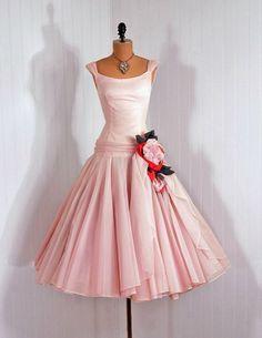 50's pink dress.  Add diy www.customweddingprintables.com