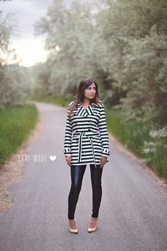 Ottobre Designs - black and white trench coat sewn by Lexi Made Sewing Clothes, Women's Clothes, Clothes For Women, Black White Stripes, Black And White, White Trench Coat, Winter Coat, Mantel, My Style