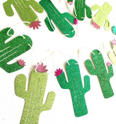 Our sparkling cactus banner is a bright and fun addition to any cactus decor, summer party decor, kids room decor, or home decor, and is made