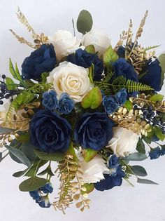 rose gold wedding Navy and Ivory Bridal Bouquet Cascading Rose Bouquet Boho Gold Wedding Bouquets, Gold Bouquet, Navy Wedding Flowers, Rose Bridal Bouquet, Wedding Flower Arrangements, Bridal Bouquets, Gold Flowers, Wedding Centerpieces, Floral Arrangements