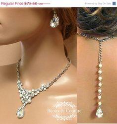 Bridal jewelry set, Wedding jewelry, back drop necklace earrings, pearl necklace, crystal necklace, bridesmaid jewelry set