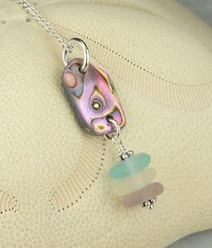 GENUINE Abalone Necklace And Aqua Blue Sea by seaglassgems4you, $45.00