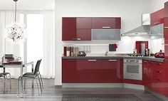 cocina en color rojo en esquina