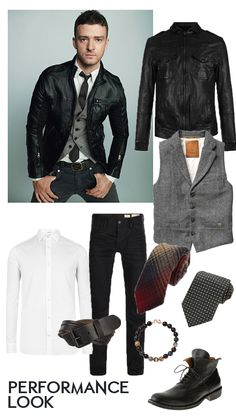 Evening/Performance Look - Justin Timberlake inspired. Clean cut, black fitted leather jacket, Fitted white button down, twill grey vest, and printed skinny tie, Black skinny denim, simple leather belt, leather lace up boots with simple accessories.