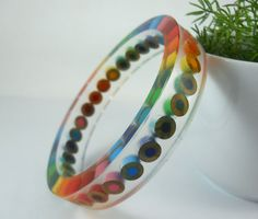 Jewellery - Resin bracelet bangle jewelry colored pencil teacher gift upcycled pencil rainbow multi co - Diy Jewelry To Sell, Diy Jewelry Holder, Diy Jewelry Making, Handmade Jewelry, Jewelry Ideas, Resin Bracelet, Resin Jewelry, Bangle Bracelets, Bangles