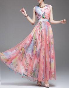 Summer chiffon dress, butterfly chiffon dress, print dress, sleeveless dress