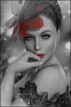 A touch of color. Beautiful photography. . Absolutely beautiful woman.