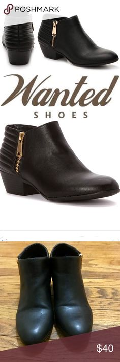 Wanted Black Vegan Leather 'Pueblo' Booties Sz 10 Size 10 black vegan leather, low heeled 'Pueblo' booties with gold zippers. Like new, worn once, maybe twice. Only flaw is small scuffs at front of toes (zoom in to see.). 1.5 inch block heel plus cool back heel details. VGUC, fit TTS. Wanted Shoes Ankle Boots & Booties