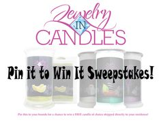 Jewelry IN Candles Pin it to Win it! Repin this pin for a chance to win a candle of choice shipped directly to your residence! Must be pinned by January 31, 2014! Gift a delectable scented candle this holiday season and let your family discover the excitement of finding a hidden piece of Jewelry inside!  https://www.jewelryincandles.com/store/lauralettbruce