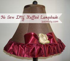 No Sew DIY Ruffled Ribbon Lampshade by JustMisty.com