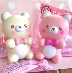Bunnyscafe Kumatan and Kumachan love bear squishies super soft Silly Squishies, Jumbo Squishies, Slime And Squishy, Stress Toys, Polymer Clay Miniatures, Fidget Toys, Cute Toys, Toys For Girls, Tween Girls