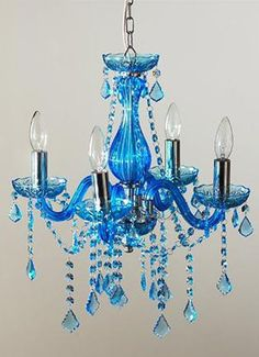 Why do I think of Cinderella when I see this blue chandelier? Parisian Decor, Blue Chandelier, Blue Party, Home Lighting, My Favorite Color, Shades Of Blue, Wind Chimes, Tiffany Blue, Tiffany Theme