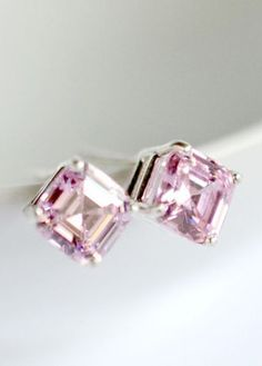 Pink Asscher cut cubic zirconia stud earrings