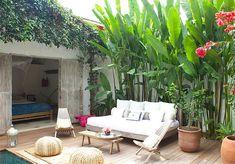 lovers of mint: Casa Lola Patio Tropical, Tropical Garden Design, Backyard Garden Design, Tropical Landscaping, Patio Design, Backyard Patio, Backyard Landscaping, Landscaping Ideas, Tropical Decor