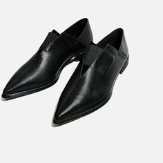 POINTED FLAT STRETCH LEATHER SHOES