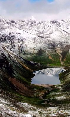 A lake hiding in the mountains - Tibet