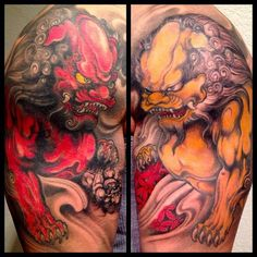 Red And Yellow Foo Dog Tattoo Designs