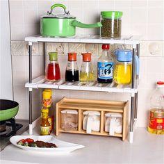 Cocina de Acero inoxidable Estante Organzier Saborizante/Plato de Almacenamiento En Rack de Doble capa Plegable Hogar Casa de Organizar Las Herramientas