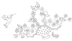 embroidery basket of flowers | ... embroidery pattern of a hummingbird with a basket of flowers click on