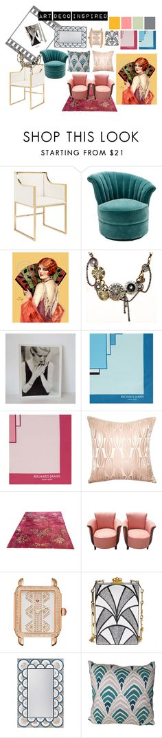 """""""art deco inspired"""" by alexamister on Polyvore featuring interior, interiors, interior design, home, home decor, interior decorating, Worlds Away, Eichholtz, Richard James and Squarefeathers"""