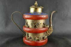 Collectible Decor Old Handwork Jade & Tibet Silver Carved Chinese zodiac TeaPot