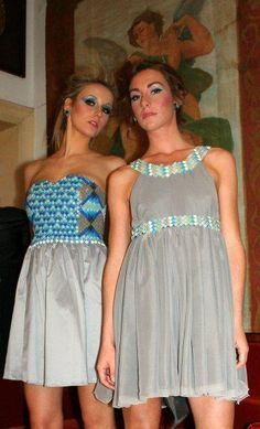 Cocktail dresses 2010 Dress in chiffon with details in mosaic. detachable sleeves in denim. Designer: Intidhar Saleh Photografer: Laura Nardelli Make up and hair: Manuela Mellio Models: Julia & Katie