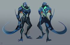 part two of character design commission for ! Exo-suit/armour for her character Rio. Alien Concept Art, Creature Concept Art, Creature Design, Alien Character, Comic Character, Character Concept, Character Ideas, Weird Creatures, Fantasy Creatures