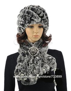 knitted fur hat and scarf set Elegant women  autumn winter natural rex  rabbit fur caps sets.ruffler flower 2 colors warm H902