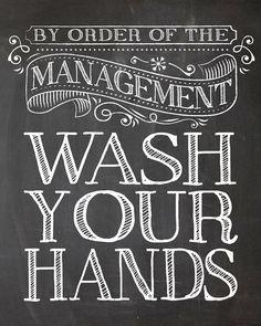 Kids Room Art - Bathroom Decor Set By Order of the Management - Wash your hands - 8x10 Art print wall decor, Bathroom art