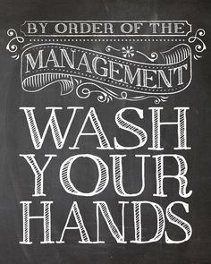 Kids Room Art - Bathroom Decor Set By Order of the Management - Wash your hands - 8x10 Art print wall decor, Bathroom art
