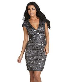 This would be a fun dress to wear on New Years Eve | Night Way Sequin Dress | $190.00 Dillards.com