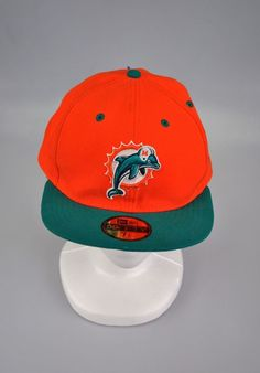 86aba2cb327 Miami Dolphins Fitted Cap Hat NFL Orange Green 7 1 2 59Fifty Flat Visor   NewEra  59FiftyFlatVisor