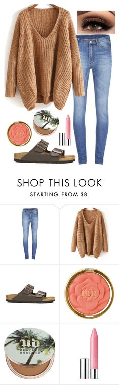 """Dolman sweater"" by mary-elizabeth-1998 ❤ liked on Polyvore featuring Cheap Monday, Birkenstock, Milani, Urban Decay and Clinique"