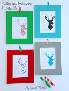Free Patterned Reindeer Printable in 4 design options and 2 sizes | ByDawnNicole.com