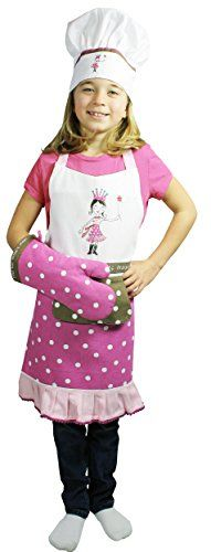 Mukitchen Minimu Kids 3-Piece Cotton Chef Set With Apron, Hat And Mitt, Princess, 2015 Amazon Top Rated Aprons #Home