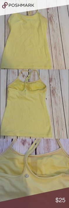 Lululemon Yellow Lemon Color Racerback Tank Top Size 2. Lovingly worn no stains some light pilling lululemon athletica Tops Tank Tops