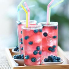 Raspberry and blueberry infused lemonade