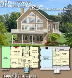 Architectural Designs Home Plan gives you 4 bedrooms, 3 baths and sq. Where do YOU want to build? A Frame House Plans, Cabin House Plans, Basement House Plans, Small House Plans, A Frame Floor Plans, Open Concept House Plans, 5 Bedroom House Plans, Floor Plan 4 Bedroom, Open Concept Home
