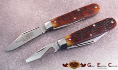 #15 Tidioute Cutlery Radio Jack Knives in Antique Yellow Jigged Bone