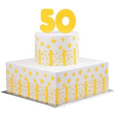 The Star Celebrates 50 Years! - The guest of honor will shine with happiness when this amazing tiered birthday cake design appears at the party! You'll love the way those sunny yellow Sugar Sheets! stars point to the cookie topper. Pear And Almond Cake, Pear Cake, Almond Cakes, Wilton Cake Decorating, Cake Decorating Tools, Buttercream Frosting Cookies, 90th Birthday Cakes, Birthday Parties, Chocolate Hazelnut Cake
