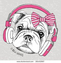 Image dog (Shar Pei) portrait with headphones and a bow. Vector illustration. - stock vector