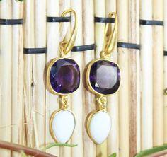 Zj-3188 For Sale Fabulous Amathyist & White Agate Earring Jewelry  #Handmade #DropDangle
