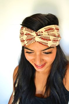 Maelu Designs  Red Fern Turban Headband Head Wrap  - Hand block printed, All Natural Vegetable Dyes, 100% Cotton Bohemian head band. $18.50, via Etsy.