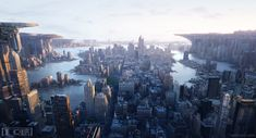"""""""Urban Plateaus"""" is a breathtaking cityscape (matte painting) created by Dylan Cole (personal work, Matte Painting, Environment Concept, Environment Design, Club Video, Cyberpunk, 3d Desktop Wallpaper, Dreamland, Sci Fi City, Dylan And Cole"""